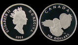 Canada, Snowy Owl Proof Platinum Coin Wildlife Series, 150 Dollars, 1991 AD